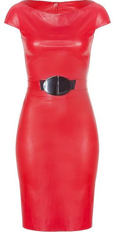 Rouge belted Stretch-Leather Dress by Jitrois