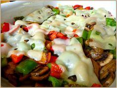 SPLENDID LOW-CARBING BY JENNIFER ELOFF: COLORFUL SWISS MUSHROOM, PEPPER AND ONION CASSEROLE