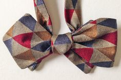 Silk Bow Tie - HAPPY JOE Triangles - One-of-a-Kind, Handcrafted for Men - Freestyle