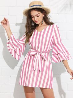 To find out about the Tiered Ruffle Sleeve Belted Stripe Dress at SHEIN, part of our latest Dresses ready to shop online today! Cute Dresses, Casual Dresses, Short Dresses, Casual Outfits, Men Casual, Hijab Fashion, Fashion Dresses, Best Summer Dresses, Trendy Fashion