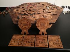 Wood Settlers of Catan wedding gift (laser etched board / hand made pieces and box)