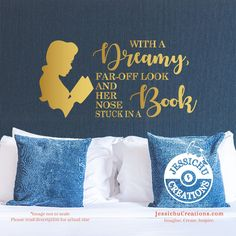 With a dreamy, far-off look - Beauty and the Beast Inspired Quote Wall Vinyl Decal