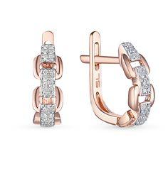 Золотые серьги с бриллиантами SUNLIGHT: розовое золото, бриллиант — купить в интернет-магазине Санлайт, фото, артикул 38426