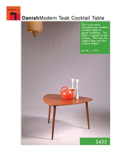 Scandinavian Modern Teak Cocktail Table by RetrogradeLA on Etsy, $435.00