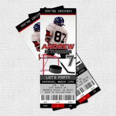 Custom Printable Hockey Birthday Party Invitations Ticket Design