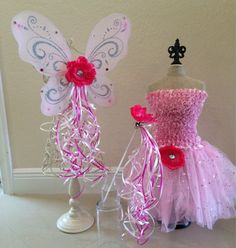 Pink Fairy Costume Fairy Wings Pink Fairy Tutu by partiesandfun