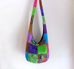 Patchwork Hobo Bag Sling Bag Floral Batik Bright by 2LeftHandz, $30.00