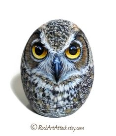 Hand-Painted Great Horned Owl Rock! The Rock is sharpened with a special wheel to stand upright and is painted from all sides with graet detail, it can be a very claver gift for your friends or to keep it for your home decortion! The rock is collected from a beach on the Greek island of Ikaria. Is painted with fine art quality acrylic colors and very small brushes for the detail, i have signed on the underside and covert with strong glossy varnish for protection which makes the painted rock…