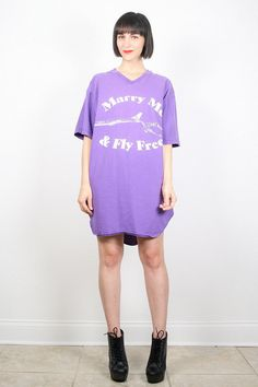 Vintage Purple Shirt T Shirt Dress 1980s 80s by ShopTwitchVintage