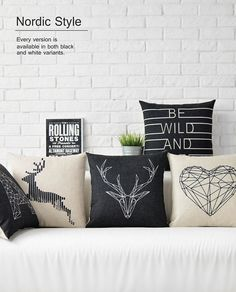 Cushion cartoon animal black and white parrot owl deer pattern sofa pillowcase linen cotton cushions pillows-in Cushion from Home & Garden on Aliexpress.com   Alibaba Group