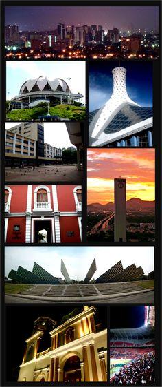Desde arriba, y de izquierda a derecha: Skyline nocturno, Flor de Venezuela, Catedral Metropolitana, Palacio de Justicia, Palacio de Gobierno (CORTULARA), Obelisco de Barquisimeto, Monumento al Sol, Estadio metropolitano de Lara Ubicación de Barquisimeto en Venezuela