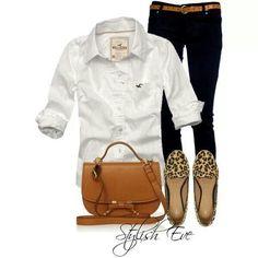 White shirt,  black jeans,  animal print shoes