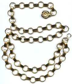 Vtg 2 Tiered Wrap Swag Gold Tone Heavy Metal Chain Belt Designer Dangle