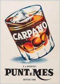 Carpano Apéritif, Punt e Mes. Ads poster by Armando Testa. Vintage Italian Posters, Retro Vintage, Vintage Advertising Posters, Vintage Labels, Vintage Advertisements, Poster Vintage, Vintage Graphic, Retro Ads, Old Poster