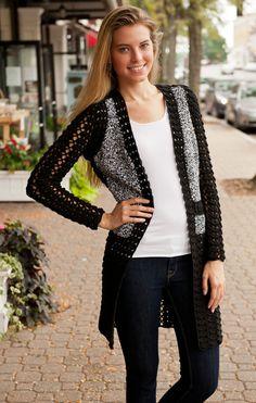 Minnie Rose Patchwork Intarsia Crochet Cardigan in Black