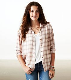 'Girlfriend' plaid shirt via American Eagle (comes in blue, red, and pink)