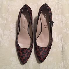 Autograph Leopard print heels size EUR38/UK5 Autograph leopard print heels in luxury  leather and genuine fur. Purchased in England but never got to wear. Size US8/EUR38 Autograph Shoes Heels