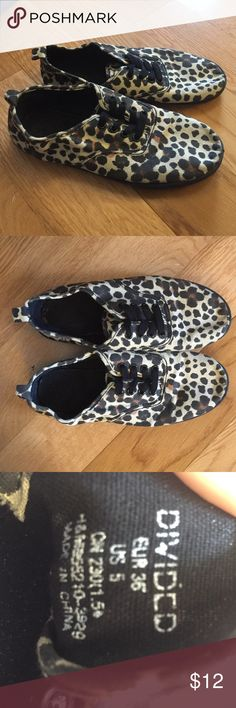 Canvas Cheetah Sneakers Super comfortable! Gently used, size 5. Divided Shoes Sneakers