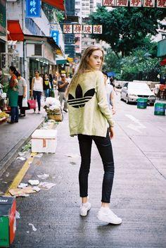 Adidas jacket + leather slim