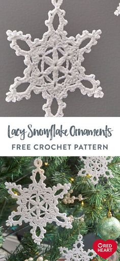 Lacy Snowflake Ornaments free crochet pattern in Aunt Lydia's Fine Crochet Thread. Ornaments like these crochet snowflakes have keepsake quality and grow in meaning from generation to generation. Brighten your tree in shades of Aunt Lydia's Fine Crochet Thread, completing as shown, or craft versions with more color. The lacy design looks just as good stitched in size 3, 10 or 20 weight crochet thread. Crochet Christmas, Christmas Art, Xmas, Crochet Snowflakes, Snowflake Ornaments, Free Crochet, Knit Crochet, Thread Crochet, Knit Patterns