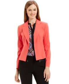 Nine West Notched-Collar Hook-And-Eye Jacket