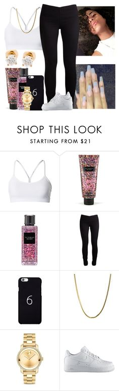 """""""Tell me why anons up here thinking they better than other Anons 😂🙃"""" by melaninmonroee ❤ liked on Polyvore featuring lululemon, Victoria's Secret, October's Very Own, Movado, NIKE and Auriya"""