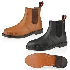 MENS REAL LEATHER CHELSEA SLIP PULL ON ANKLE DEALER SMART BOOTS SHOE SIZE  6-12  d3c03a3fc405c