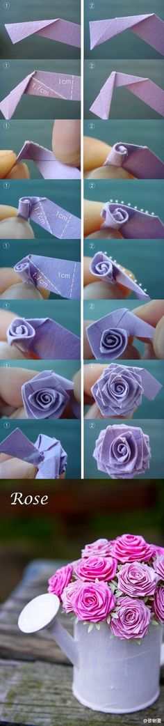 Paper Flowers--like the ones we made with satin ribbon