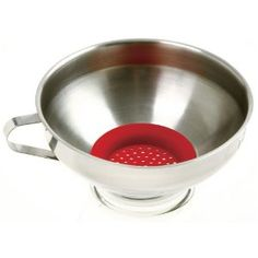 Norpro Stainless Steel Wide Mouth Funnel with Silicone Strainer. THis might double as a steamer, sitting in a small pot. It is 5.5 x 5.5 x 2.5 inches.