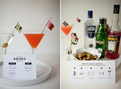 """How to make a martini"" instructions and cocktail menu 