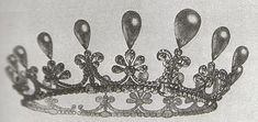 a sketch of a diamond and pear-shaped pearl tiara/coronet of Spanish origin, with fifteen pear-shaped pearls. Possibly connected to Empress Eugenie of France, nee Spain