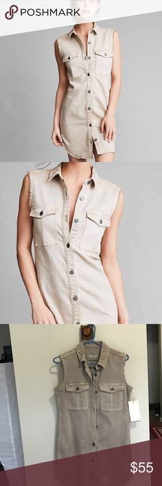 🔥SALE🔥 Calvin Klein shirt dress khaki Size small shirt dress from UO. New with tags. Thick material. Bundle with one additional item for 20% off Urban Outfitters Dresses