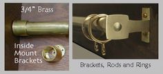 """solid brass drapery hardware 3/4"""" unlacquered"""