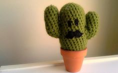 Little buddy for you office space! Cactus Crochet Mustache Black Stuffed Toy by CreativeCharmer, $18.00