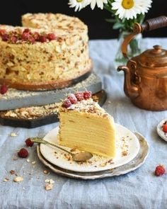 The ingredients to the form, cm: g Butter — 100 g Cottage cheese — 400 g Eggs — 2 PCs. Baking powder — 10 g Vanilla Cake Shop Design, Take The Cake, Russian Recipes, Cottage Cheese, Napoleon, Camembert Cheese, Vanilla, Good Food, Food And Drink