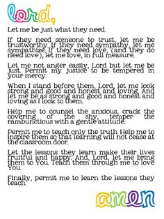 What a wonderful back to school prayer for teachers. Lord lead and guide this school year. Back To School Prayer, 1st Day Of School, Beginning Of The School Year, School Days, School Stuff, School Teacher, Sunday School, First Day Of School Quotes, Middle School