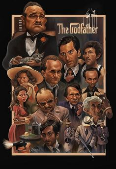 The Godfather - Awesome caricature of the principle players in The Godfather by Carlos Castro The Godfather Poster, The Godfather Wallpaper, Godfather Movie, Scarface Movie, Best Movie Posters, Movie Poster Art, Al Pacino, Shire, Don Corleone