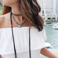 Double whammy! Off the shoulder top layered with chokers  loving it allllll  #thesicilianswede #jotd #jewelry #summertimechi
