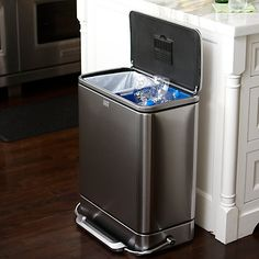 Buy simplehuman Rectangular Steel Bar Recycler, from our Kitchen Bins range at John Lewis & Partners. Hide Trash Cans, Trash Bins, Ugly Kitchen, Wooden Kitchen, Kitchen Ideas, Kitchen Trash Cans, Metal Bar, Recycling Bins, Brushed Stainless Steel
