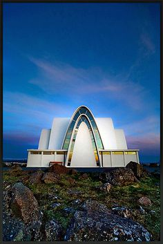 It's the church of Kópavogur (Reykjavik). the idea here was to let the windows reflect the sunset against the dusk behind the church. Place Of Worship, Dusk, Christian, Sunset, Architecture, World, Building, Places, Ireland