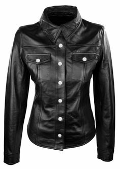 47ed2812f5a  Ladies  Sexy  Womens Real  Black SHEEP NAPPA Lambs  Leather  Police   Shirts (PS-W) £79.99
