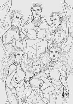 (top)rhys, (left top)azriel, (right top), cassian, (left bottom) mor, (right bottom) feyre and (bottom) amren