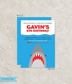Shark Printable Happy Birthday Party Banner by getthepartystarted