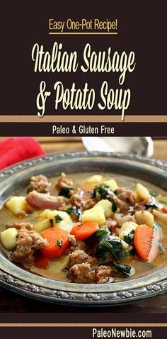 Paleo - Chase away the chill with a steaming bowl of this easy-to-make savory entrée soup. Simple one-pot paleo recipe loaded with veggies and flavor! It's The Best Selling Book For Getting Started With Paleo Paleo Soup, Healthy Recipes, Soup Recipes, Cooking Recipes, Paleo Sausage Recipes, Cooking Games, Easy Recipes, Dinner Recipes, Gluten Free Recipes