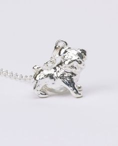 Handcrafted sterling silver 3-dimensional English Bulldog pendant
