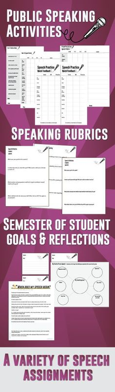 Public speaking bundle ~ lesson plans, activities, rubrics, and student goal setting sheets.