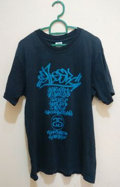 Vintage Stussy Graffiti Made In USA Large Black T by ArenaVintage