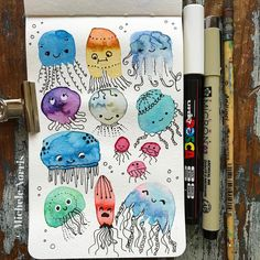 Doodle Art, Watercolor And Ink, Watercolor Paintings, Watercolours, Doodles, Galaxy Painting, Happy Paintings, Art Graphique, Art Club