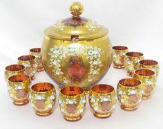 Bohemian Czech Cranberry 24K Gold Enamel Crystal Punch Bowl Set,  12 Cups  , Punch Bowl Set, Venetian Glass, Gold Glass, Blown Glass, 19th Century, Tea Cups, Enamel, Miniatures, Plate