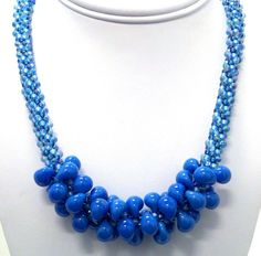 Carolina Blue Kumihimo Necklace by sparkleezcrystals on Etsy, $50.00
